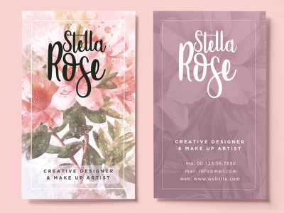 Floral Watercolor Business Card watercolor style print pinterest pink painter modern floral design colorful clean artistic