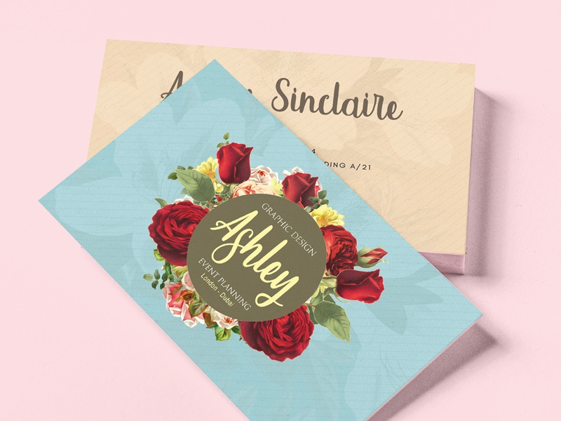 Floral Watercolor Business Card V.02 watercolor style print pinterest pink painter modern floral design colorful clean artistic