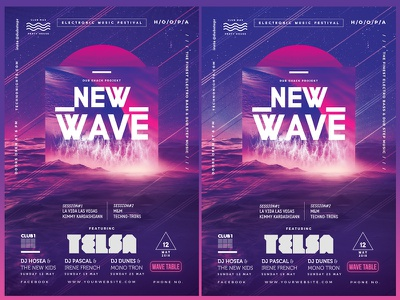 New Wave Modern Poster electronica electro duotone dubstep dj nights dj battle disco cool flyers club poster club nights club flyers