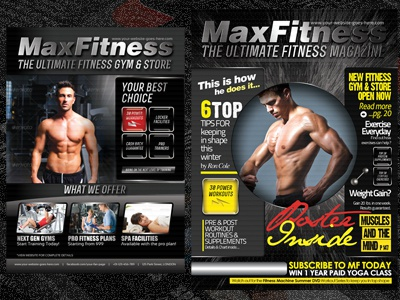 Max Fitness Flyer  Magazine Cover Template By Sherman Jackson