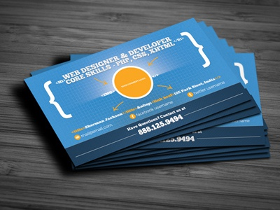 Creative web designerdeveloper business card by sherman jackson dribble shots web dzine reheart Images