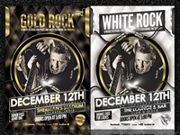 Rock Party Flyer - Gold & White (Psd Template)