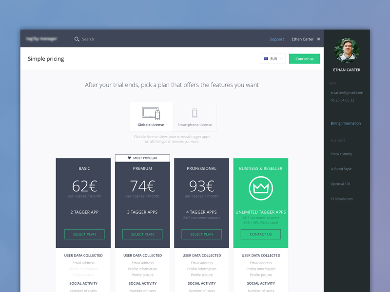 Pricing Page dashboard pricing