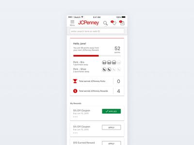 JCPenney Rewards Dashboard