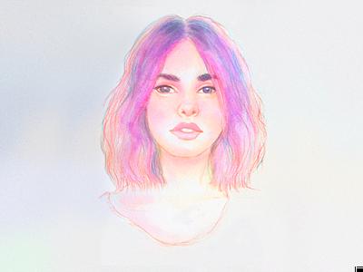 Pastel Haze handmade drawing woman female analog paint art portrait texture illustration watercolour watercolor