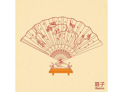 Hand fan art illustration design vector graphic design japan woman beautiful handfan