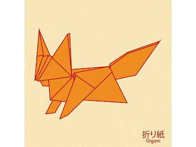 Origami japan illustration design vector graphic design art paper origami fox