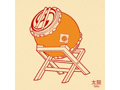 Taiko japan art illustration design vector graphic design drum taiko