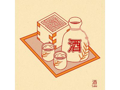 Sake sake japanese japan graphic design vector design illustration art bottle alcohol drink rice