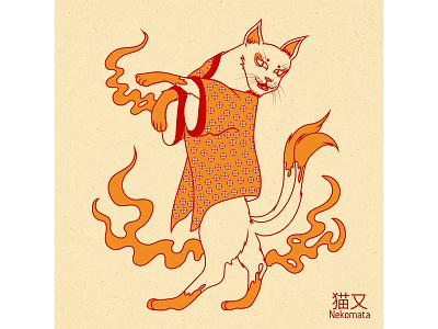 Nekomata digitalart digital japanese art illustration design vector graphic design nekomata cat neko