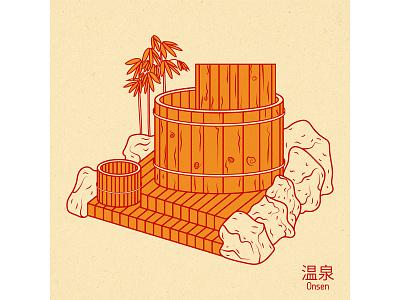 Onsen forest wood water digital japanese art illustration design vector graphic design onsen