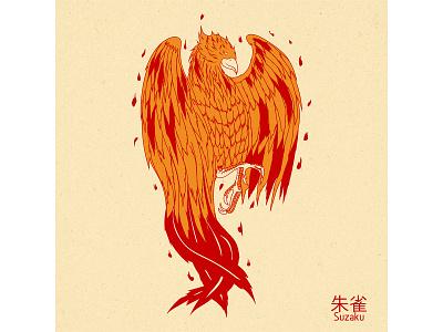 Suzaku digital japanese art illustration design vector graphic design fire bird fenix suzaku