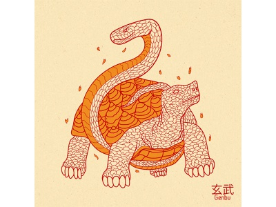 Genbu japanese art illustration design vector graphic design earth north sanke tortoise genbu