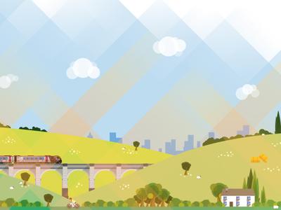 Countryside Illustration countryside train vector illustration