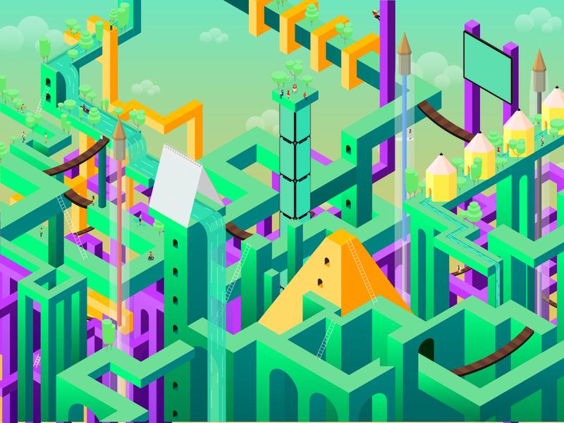 Embracing Challenge isometric escher architecture illustration vector
