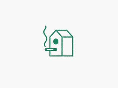 No Birdies house bird studio laukai logo illustration icon birdies cigarette smoke nestbox