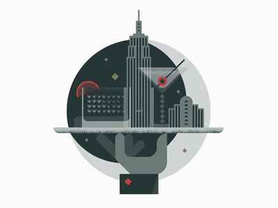 Moonshine  laukaistudio skyline cocktail illustration speakeasy nyc wallgraphics