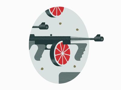 Chicago Juice Squeezer speakeasy moonshine heater bullet firearm laukai wallgraphic illustration gangster juice gun tommy