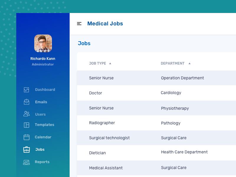 Medical jobs dashboard medical app health ui dashboard jobsite medicine clean green blue jobs medical