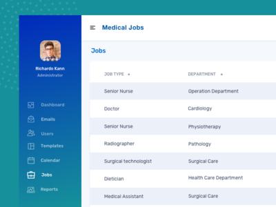 Medical jobs dashboard