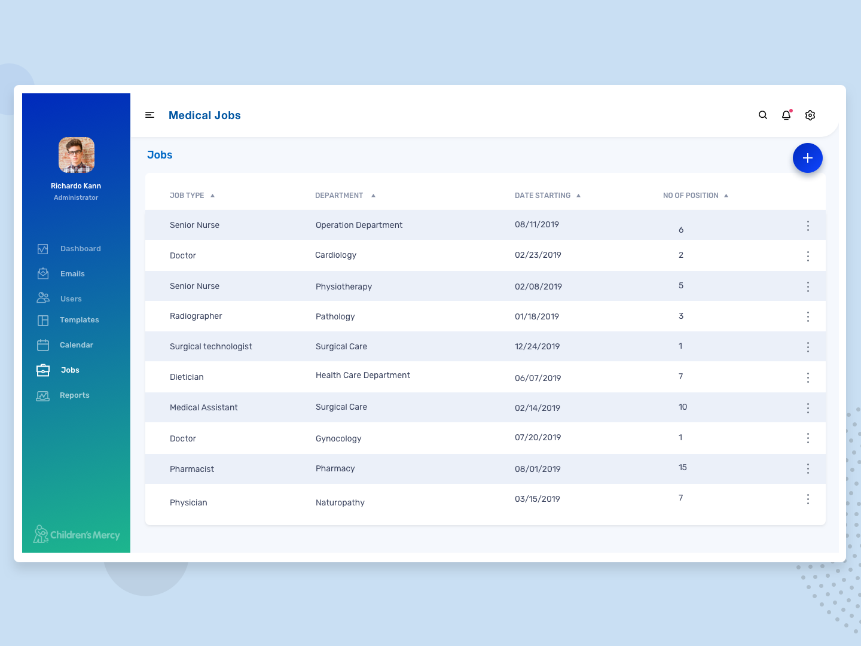 Medical Jobs dashboard full view design ui medicine green health medical app medical jobs clean dashboard blue