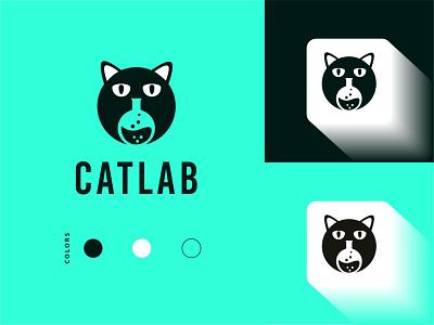 Cat Lab Logo bird logo design logo minimal logo logo design branding