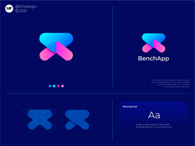 BenchApp brand corporate apparel simple minimalist modern app ux typography vector logo illustration icon design branding