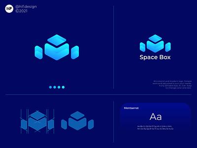 Space Box logo concept simple minimalist modern graphic design app ux ui typography vector logo illustration icon design branding