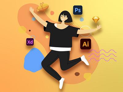 Me illustration vector creative ui design