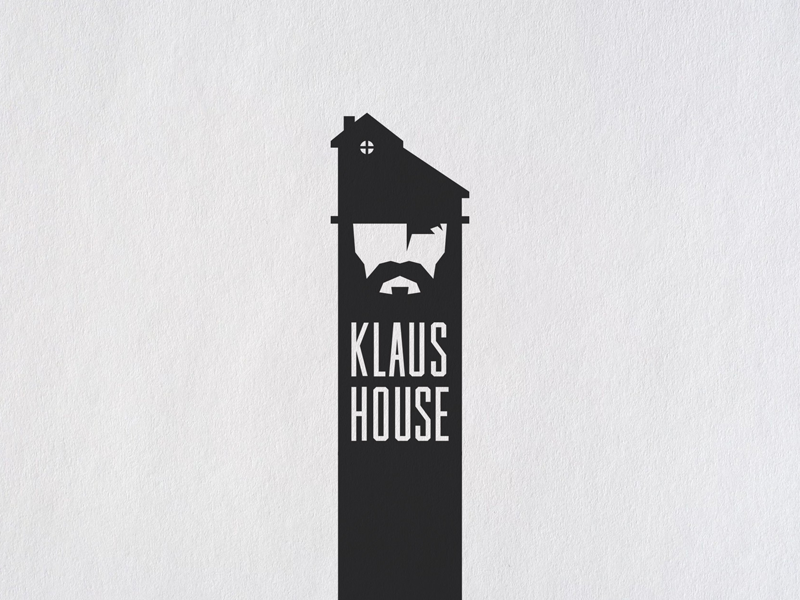 Klaus House creative branding repair building construction beard hat logo house