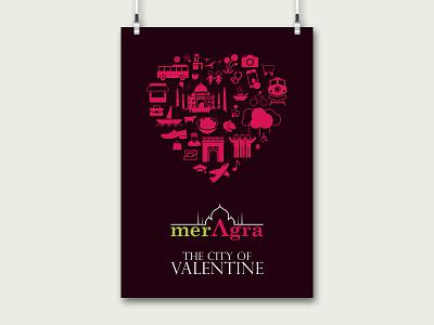 merAgra city valentine love icon logo ping green india agra graphic graphic design poster