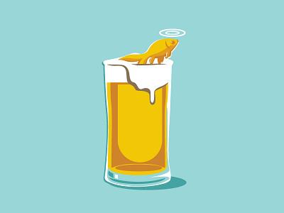 Water not Beer art direction graphic design design illustration glass marine fish ocean water beer