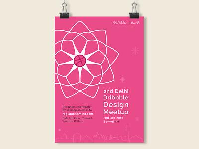 Poster 2nd Dribbble Design Meetup india delhi design meetup pink poster
