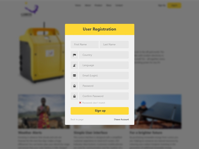 Dribbble registration form