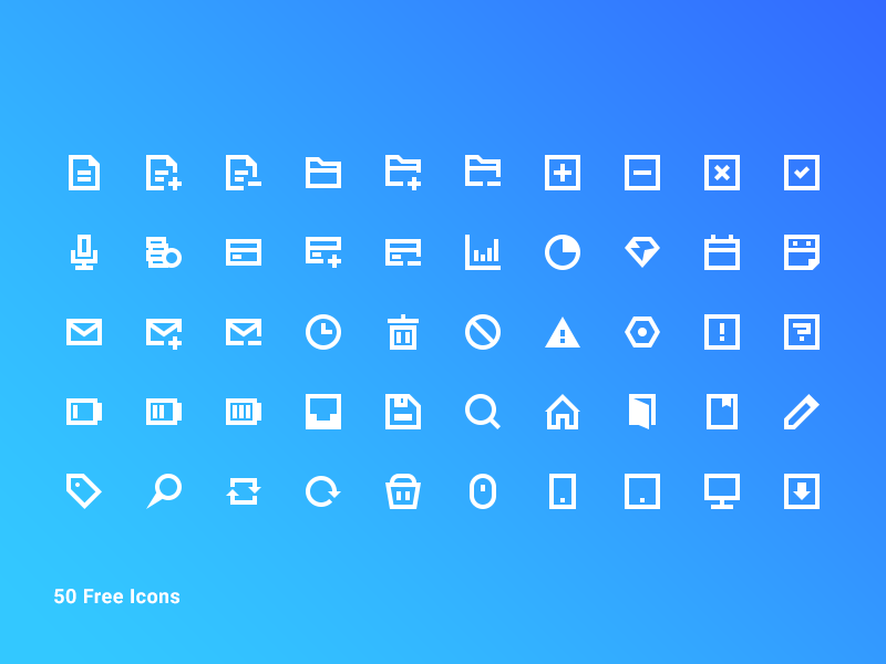 50 Free Blocky Icon Pack psd ui mini small pack set illustrator vector 16x16 perfect pixel 16px