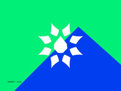 water + sun life minimal logotype logo clean branding black nature leaf green flower air