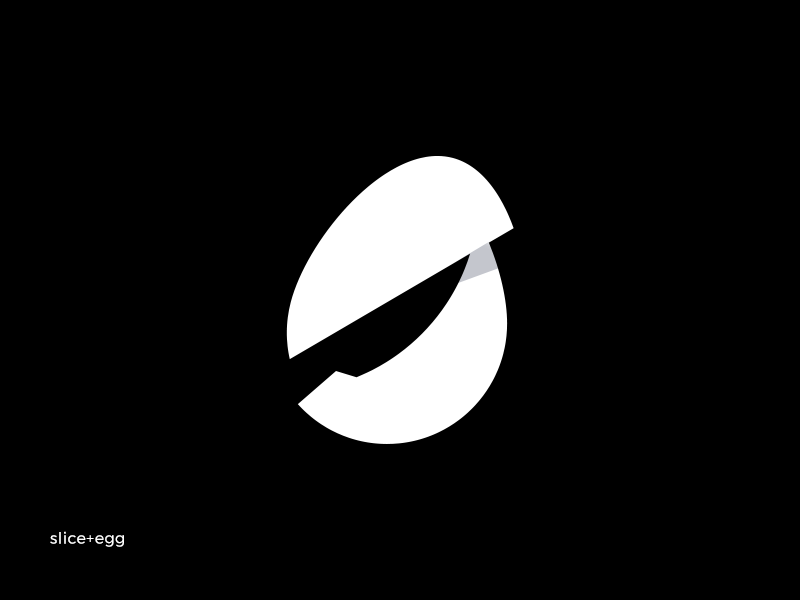 slice + egg logo kitchen cook chef simple minimal clean branding black s food knife