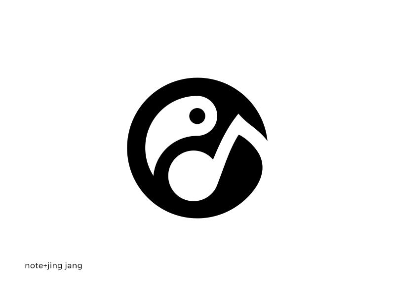 note + jing jang balance sound toucan pelican bird branding logotype logo clean music