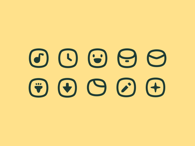 blob icons cute icon set collection glyph icon pack ui squircle bubble simple icons pixel perfect ui icons