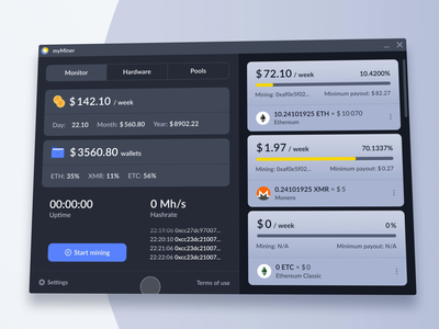 Cryptocurrency Miner App Animation video animation gif after effects perspective ui app dark theme bitcoin wallet bitcoin miner bitcoin uidesign