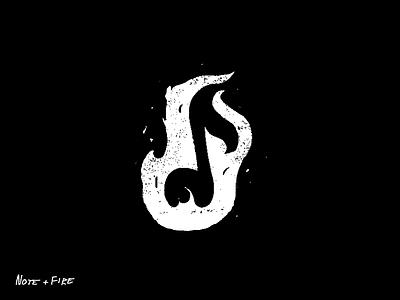 note+fire sketch music flame white branding letter black clean brand minimal logotype logo