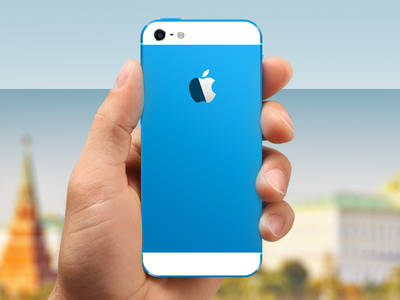 Colored iPhone 5 (blue) icon apple iphone 5 iphone 5c iphone 5s macbook pro mockup photoshop psd template ios ios 7