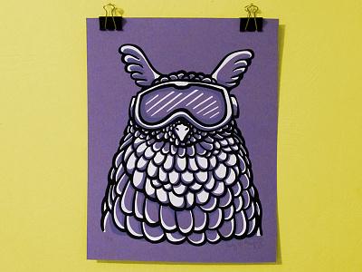 Ski Goggles Owl Screen Print screen print layers vector illustration printmaker ink screenprint printmaking print goggles owl ski
