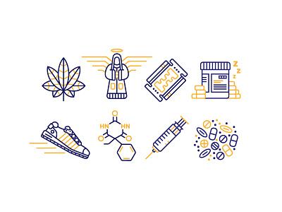 Drug Icons line art marijuana tablets angel shoe trainer pills syringe cocaine illustration monoline drugs