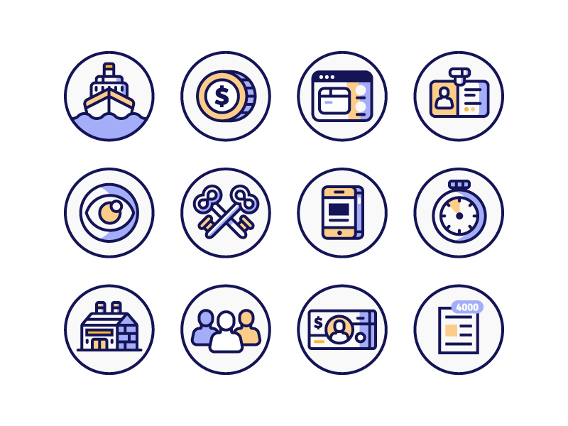 Work Based Icons keys money factory boat eye phone minimal clean illustration icons