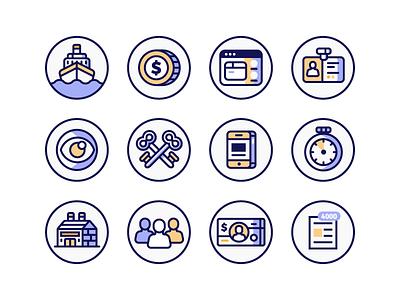 Work Based Icons keys money factory boat eye phone minimal clean illustration icons