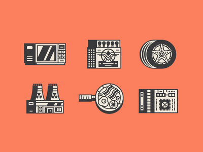 Old Icons line art computer chip fry up power plant nuclear wheel tyre matches retro microwave
