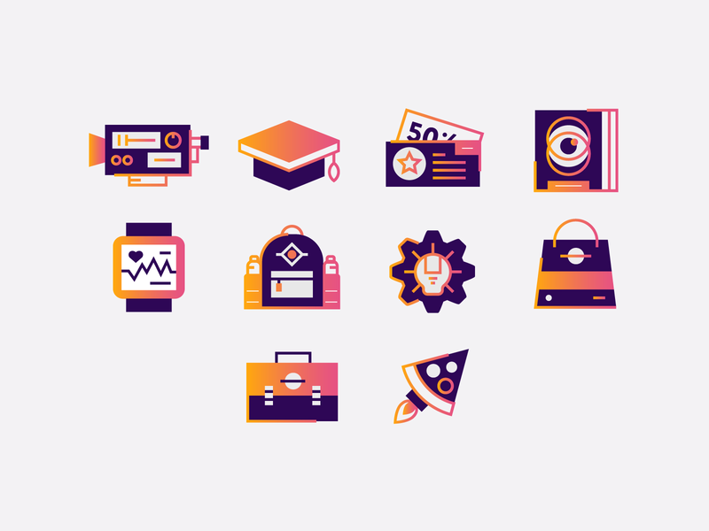 Notification Engagement Icons line art wrench book graduation cap briefcase coupon pizza fitbit backpack gradient icons camera