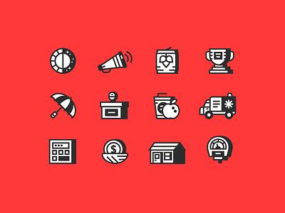 Siege Icons podium fast food beer calculator nest egg house trophy parking metre umberella ambulance apple line art icons