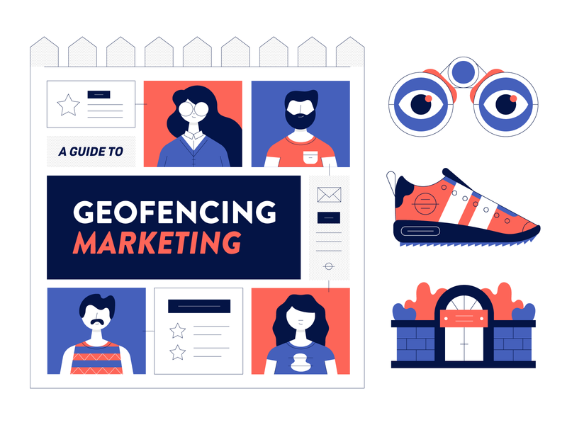 Geofencing Infographic Elements gate eyes fence beard infographic people binoculars trainer icons line art